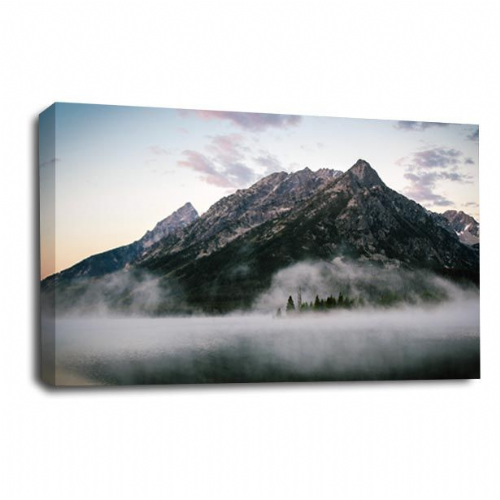 Landscape Mountain Art Restful Calm Misty Forest Picture Print